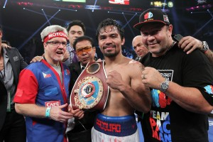 Boxing fans (again) were (foolishly) plotting Manny Pacquiao's next move before he'd had a chance to towel off after Saturday's win. (Chris Farina/Top Rank)