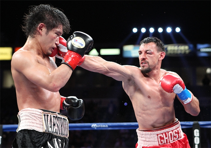 Yoshihiro Kamega and Robert Guerrero gave fans a surprise fight of the year candidate on Saturday in Carson, California. (Tom Hogan/Hoganphotos/Golden Boy Promotions)